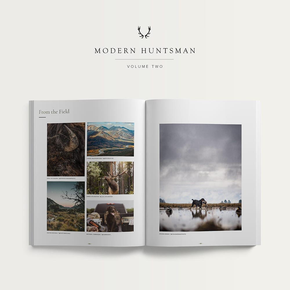 Magazine images featuring wolf gray chama chair, hunting labrador, and mountain terrain
