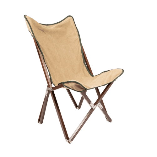 Outdoor foldable camping chair front view wheat and pine